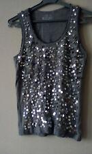 ladies grey cotton vest w/front bead/disc detail size 14 never worn