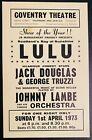LULU & JACK DOUGLAS TRUZZI COVENTRY THEATRE UK 1973 Handbill Flyer Near Mint