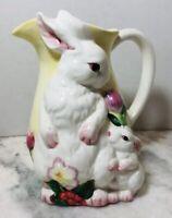 Burton and Burton Mom And Baby Bunny Rabbit Pitcher Yellow Hand Painted