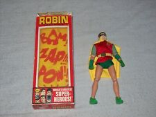 """Reproduction Vintage 1970s Mego WGSH 8"""" Robin Action Figure With Box"""