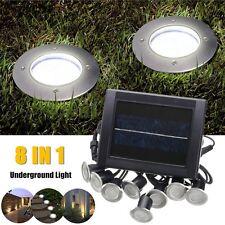 8 in 1 Solar LED Bodeneinbaustrahler Gartenstrahler Außenleuchte Einbaustrahler