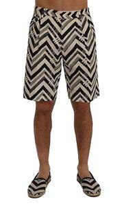 NEW $740 DOLCE & GABBANA Shorts White Black Striped Cotton Linen IT48 / W34
