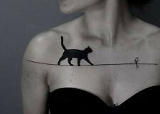 Waterproof Temporary Fake Tattoo Stickers Sexy Black Cat Large Body Makeup Tools
