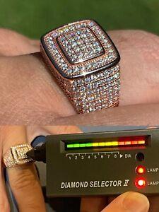 Real 14k Rose Gold Vermeil Men Hip Hop Iced Moissanite Ring Pass Diamond Tester