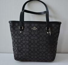 Authentic Coach Signature Zip F55364, 58282 Shoulder Tote Bag Purse Black Smoke