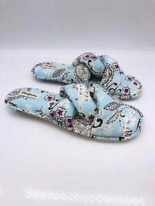 Dearfoams Women's Angela Paisley Knot Slide Slipper Sky Blue L (US 9-10)   #A-65