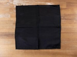 CORNELIANI solid black silk pocket square authentic