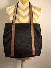 Orvis Black Canvas Brown Leather trim Tote Shopper Purse Shoulder Bag
