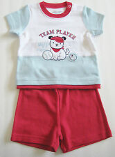 New love'n cuddles Size 18 Lb / 9 Months White Short Sleeve Shirt & Red Shorts