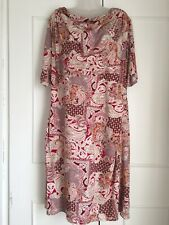 M&s Classic Red Orange Paisley Print Ruched Shift Dress Size 24 Boho