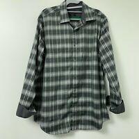 Bugatchi Men's Gray Flip Cuff Long Sleeve Button Down Shirt Plaid Classic Fit L