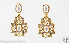 Kenneth Jay Lane Gold Rhinestone White Pearl Drop Earrings