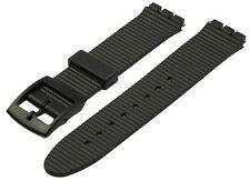 Uhrenarmband kompatibel für Swatch geriffelt 17 mm schwarz