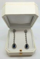 White gold finish pearcut blue sapphire long dangle earrings luxury giftboxed