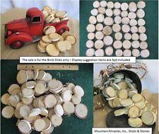 """50x 1.5- 2"""" x 3/8"""" White Silver Birch Wood Slice Round Disk Wedding Crafts Decor"""