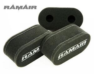 3 x RAMAIR Carb Sock Air Filters for Triumph TR6 Wide Port 150BHP Weber 40 DCOE