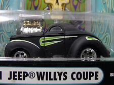 41 WILLYS COUPE  FLAT BLACK MUSCLE MACHINE funline STREET ROD 1:64 BLOWER