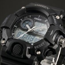 OHSEN Mens Quartz Digital Date Black Rubber Waterproof LCD Sport Watch