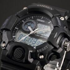 OHSEN Mens Quartz Digital Date Black Rubber Waterproof LCD Sport Watch +Bookmark