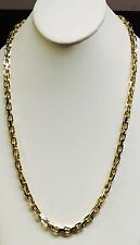 "18k Solid Yellow Gold Handmade Link Men's chain/necklace 30"" 160 grams 6.5MM"
