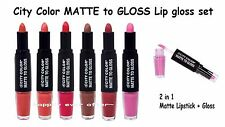 6 PCs City Color Dual Ended 2 in 1 Matte Lipstick With Gloss- Full Set