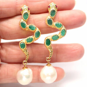 NATURAL WHITE PEARL, EMERALD & RUBY 925 STERLING SILVER EARRINGS
