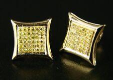 Mens/Ladies Canary On Yellow 8 Mm Diamond Stud Earrings