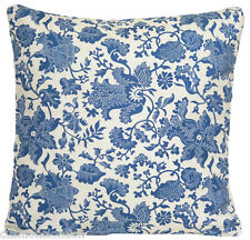 Blue Cushion Cover Vintage Throw Pillow Case Oatmeal Printed Cotton Fabric
