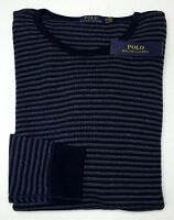 Orig $89 Polo Ralph Lauren Cotton Long Sleeve Navy Blue Mens Size XL Striped NEW