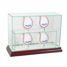New Glass Upright 4 Baseball Display Case Uv Protection Cherry Wood And Mirror