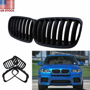 Matte Black Front Grille Grill Kidney Fit BMW X5 X5M X6 X6M E70 E71 2007-2013 12
