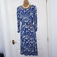 White Stuff Jersey Dress, Mount Blue 3/4 Sleeve UK Size 14 Blue Floral Print