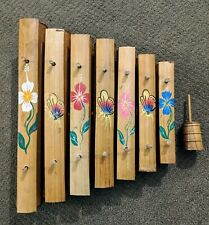Bamboo Wood Xylophone 7 Note With Wood Mallet Hand-Painted Flowers Indonesia
