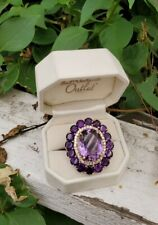 Large cocktail Purple Amethyst 29.05 Ct White Topaz 925 Sterling Silver Ring 10