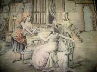1920s FRENCH TAPESTRY FLOWER LADY ROMANTIC COUPLE FRENCH FARMHOUSE ANTIQUE