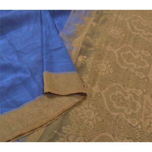 Sanskriti Vintage Blue Indian Sarees Pure Silk Handwoven Sari Premium Fabric