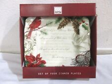 222 FIFTH HOLIDAY WISHES POINSETTIA CARDINAL CHRISTMAS DINNER PLATE Set of 4