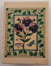 Inkadinkado Viola Flower Garden Botanical Frame  Wooden Rubber Stamp