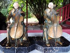 """Antique """"The Cellist"""" JB Hirsch RUHL 1932 BOOKENDS Metal Celluloid Face Marble"""