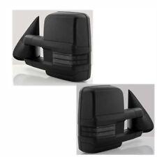 For 03-06 Silverado Sierra Black Tow Power+Heated+Smoke LED Turn Signal Mirrors