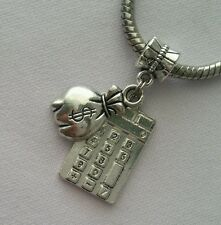 Calculator Money Bag Cashier Bank Teller Dangle Bead Fit European Charm Bracelet