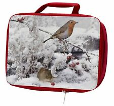 More details for snow mouse and robin print insulated red school lunch box/picnic bag, amo-5lbr