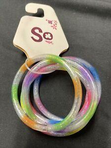SO Kohls Brand Multi Color Glitter Plastic Bangle Bracelets