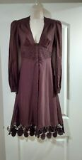 2 XS Catherine Malandrino Brown Cotton Long Sleeve Bohemian Embroidered Dress