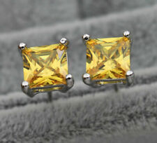 1.5 ct Princess Yellow Citrine Simulated Diamond Women's Stud Earrings in Silver