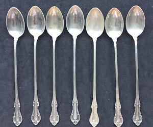 SET OF 7 JOAN OF ARC INTERNATIONAL STERLING SILVER ICE TEA SPOONS LONG