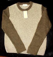 Michael Kors Gold/duffle Sweater Fishnet Knit Wool Blend Pullover Size XL