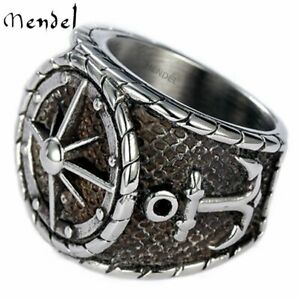 MENDEL Mens Stainless Steel Nautical North Star Marine Compass Anchor Ring 7-15