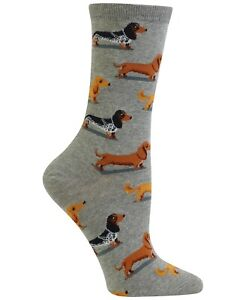 Hotsox Womens Dachshunds Fashion Crew Socks Hotdog Weiner Dog NWT