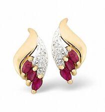 rubí y diamante Pendientes Oro Amarillo Marquesita Tacha Tasación Certificado